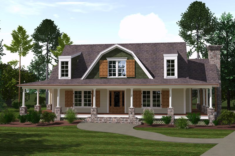 Country Exterior - Front Elevation Plan #1071-10