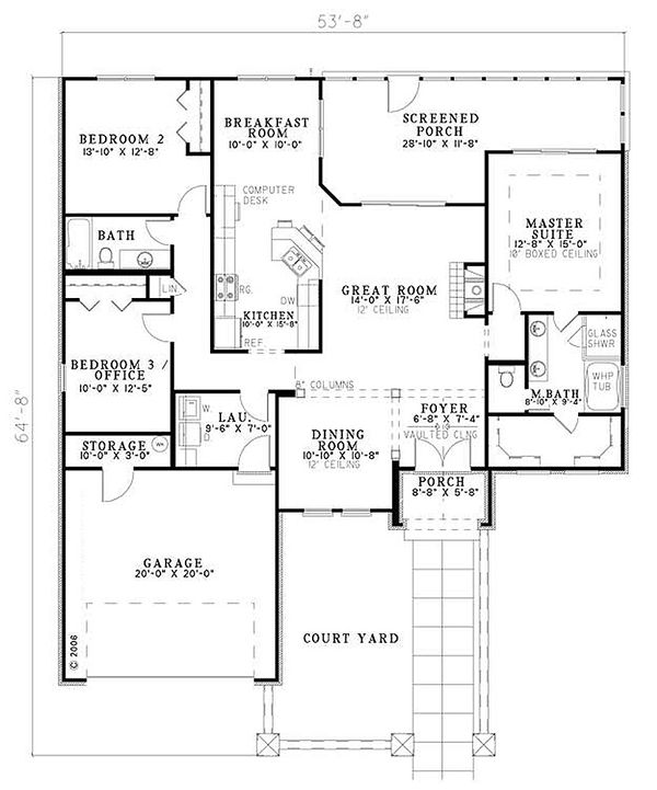 European Floor Plan - Main Floor Plan #17-123