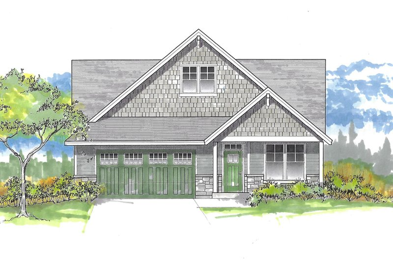 Craftsman Style House Plan - 4 Beds 2 Baths 1756 Sq/Ft Plan #53-634 Exterior - Front Elevation