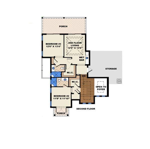 Beach Floor Plan - Upper Floor Plan Plan #27-514