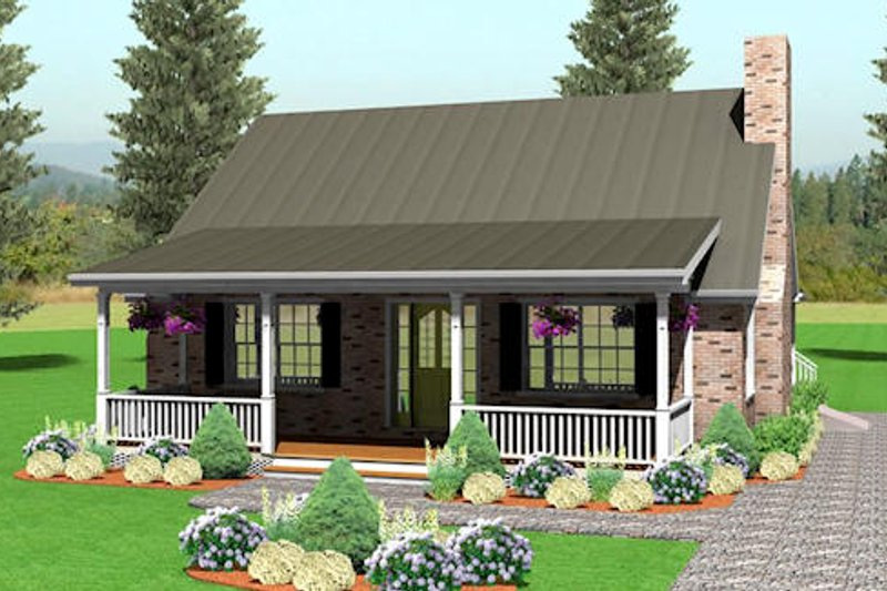 Country Style House Plan - 3 Beds 2 Baths 1483 Sq/Ft Plan #75-148 Exterior - Front Elevation