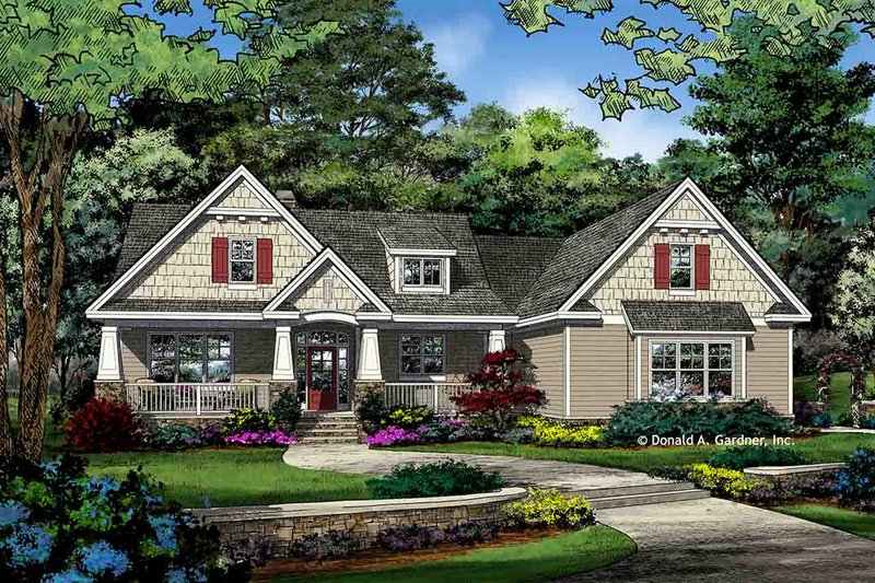 Craftsman Style House Plan - 3 Beds 2 Baths 1986 Sq/Ft Plan #929-1043 Exterior - Front Elevation