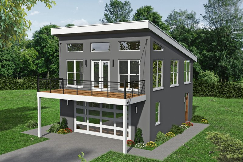 Contemporary Style House Plan - 1 Beds 1.5 Baths 834 Sq/Ft Plan #932-216