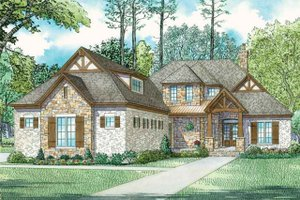 European Exterior - Front Elevation Plan #17-3416