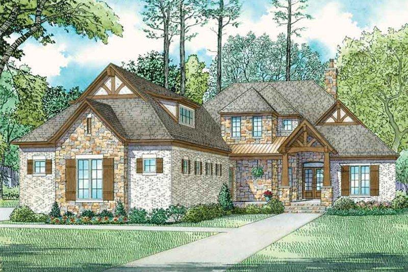 Architectural House Design - European Exterior - Front Elevation Plan #17-3416