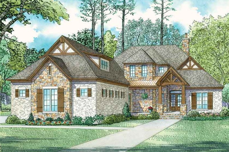European Style House Plan - 4 Beds 4.5 Baths 3251 Sq/Ft Plan #17-3416 Exterior - Front Elevation
