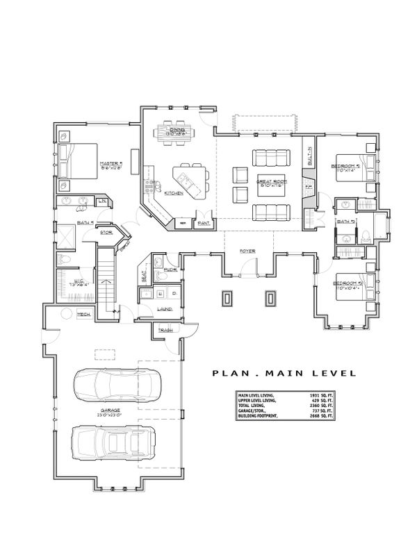 Craftsman Floor Plan - Main Floor Plan Plan #892-13
