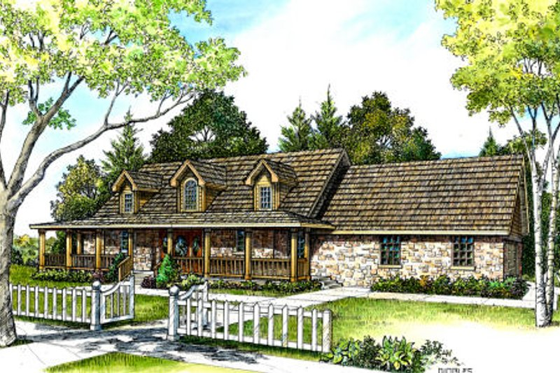Country Style House Plan - 3 Beds 2.5 Baths 2253 Sq/Ft Plan #140-113 Exterior - Front Elevation