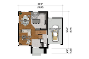 Contemporary Style House Plan - 3 Beds 1.5 Baths 1662 Sq/Ft Plan #25-4876