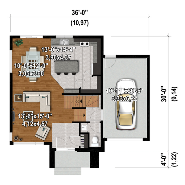 Contemporary Floor Plan - Main Floor Plan #25-4876