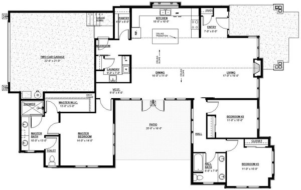 Craftsman Floor Plan - Main Floor Plan Plan #895-82