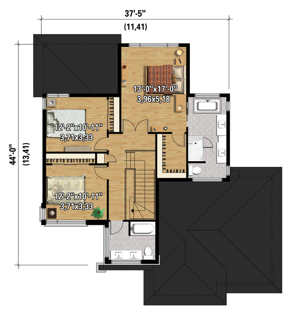 Contemporary Floor Plan - Upper Floor Plan Plan #25-4341