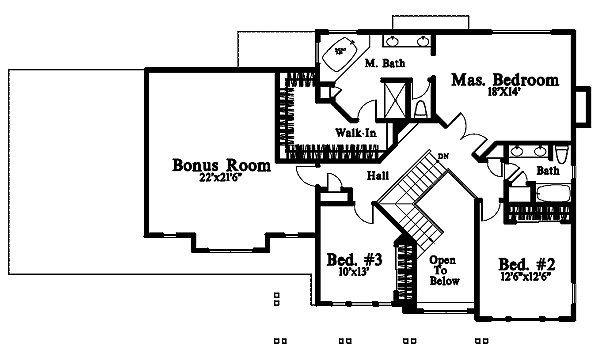 Craftsman Floor Plan - Upper Floor Plan #78-217