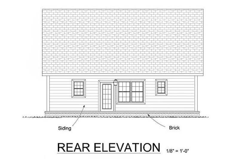 Cottage Exterior - Rear Elevation Plan #513-6 - Houseplans.com