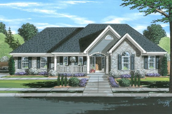 Traditional Exterior - Front Elevation Plan #46-901