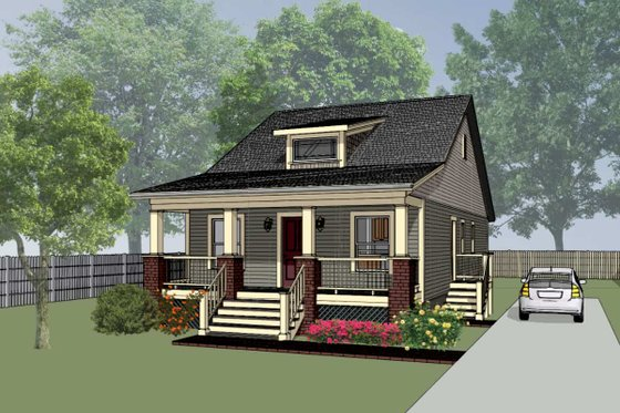Cottage Exterior - Front Elevation Plan #79-128