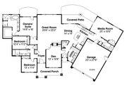 Prairie Style House Plan - 3 Beds 3.5 Baths 3189 Sq/Ft Plan #124-1012 Floor Plan - Main Floor Plan