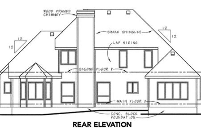 Traditional Exterior - Rear Elevation Plan #20-1031 - Houseplans.com