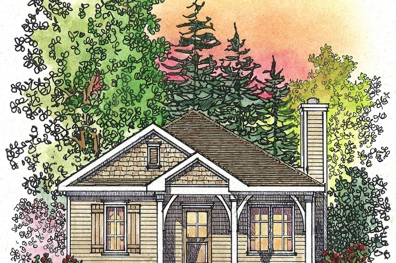 Cottage Style House Plan - 2 Beds 2 Baths 1061 Sq/Ft Plan #22-568 Exterior - Front Elevation