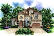 Mediterranean Style House Plan - 4 Beds 3.5 Baths 3233 Sq/Ft Plan #27-376 Exterior - Front Elevation