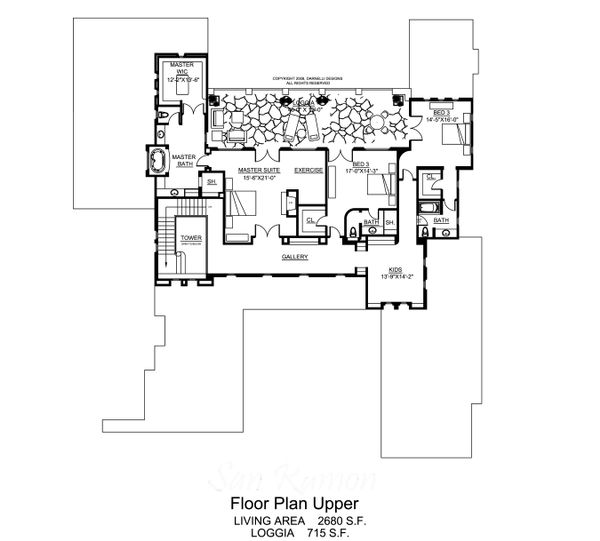 Mediterranean Floor Plan - Upper Floor Plan Plan #484-8