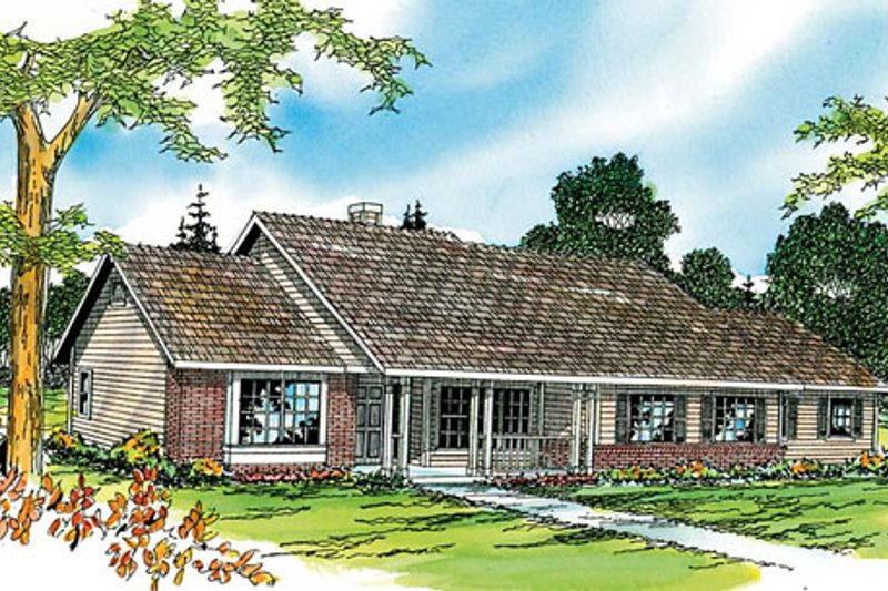 Ranch Style House Plan - 3 Beds 2 Baths 1951 Sq/Ft Plan #124-273 Exterior - Front Elevation