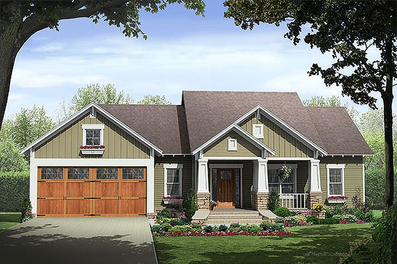 House Plan Design - Craftsman style home Plan 21-246 front elevation