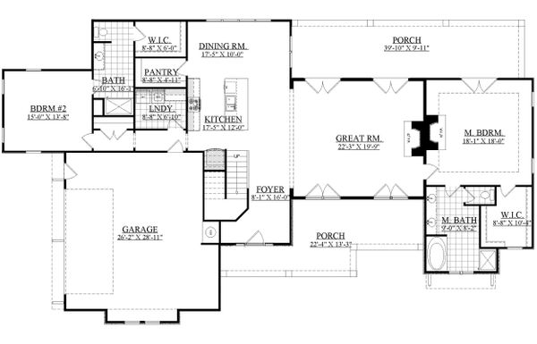 Craftsman Floor Plan - Main Floor Plan Plan #1071-23