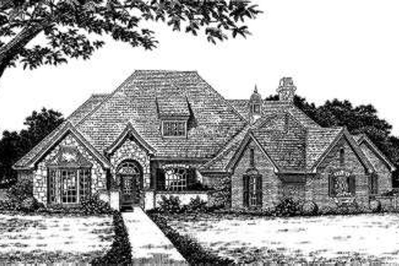European Style House Plan - 4 Beds 3.5 Baths 2911 Sq/Ft Plan #310-225 Exterior - Front Elevation