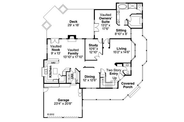 Country Floor Plan - Main Floor Plan Plan #124-173