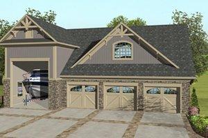 Craftsman, Front Elevation, RV Garage