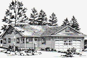Ranch Exterior - Front Elevation Plan #18-1029