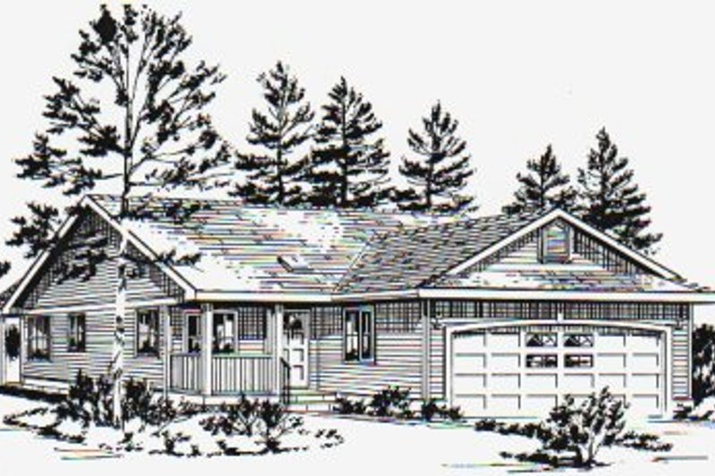 Ranch Style House Plan - 3 Beds 2 Baths 1059 Sq/Ft Plan #18-1029 Exterior - Front Elevation