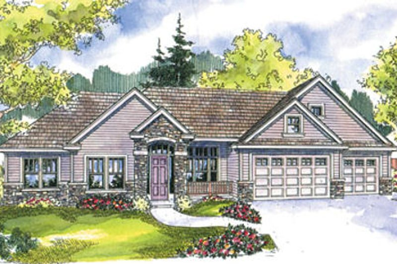Ranch Exterior - Front Elevation Plan #124-668