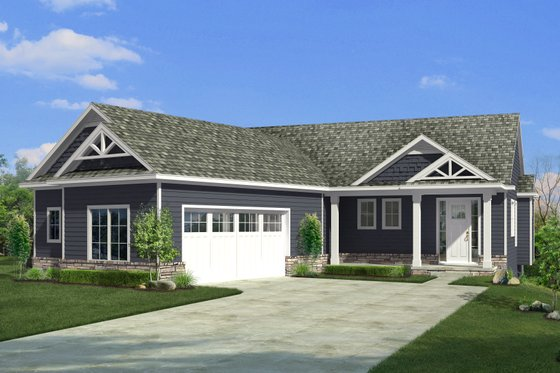 Craftsman Exterior - Front Elevation Plan #1057-21
