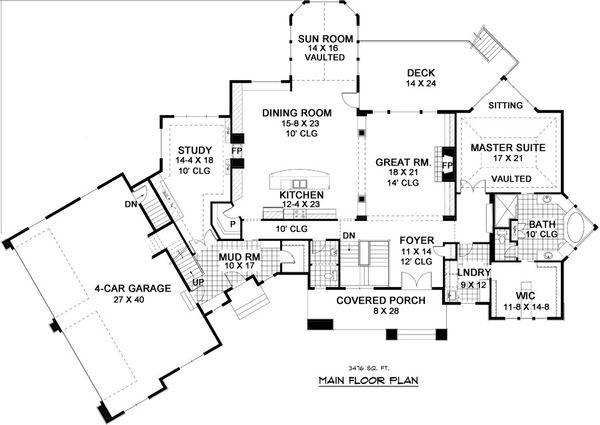 European Style House Plan - 5 Beds 4.5 Baths 6690 Sq/Ft Plan #51-338 Floor Plan - Main Floor Plan