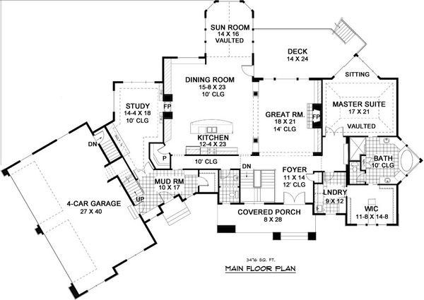 European Floor Plan - Main Floor Plan Plan #51-338