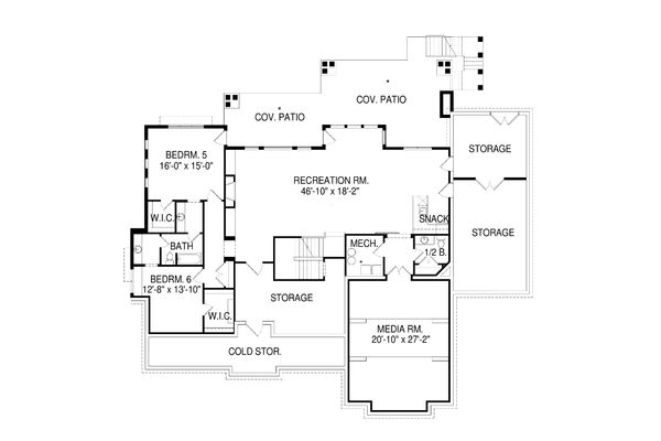 Craftsman Floor Plan - Lower Floor Plan Plan #920-34
