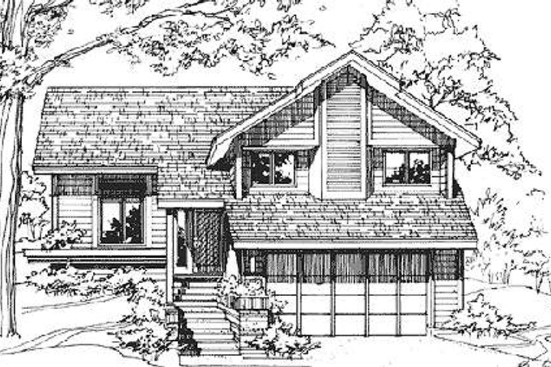 Modern Style House Plan - 2 Beds 2.5 Baths 1496 Sq/Ft Plan #320-326 Exterior - Front Elevation