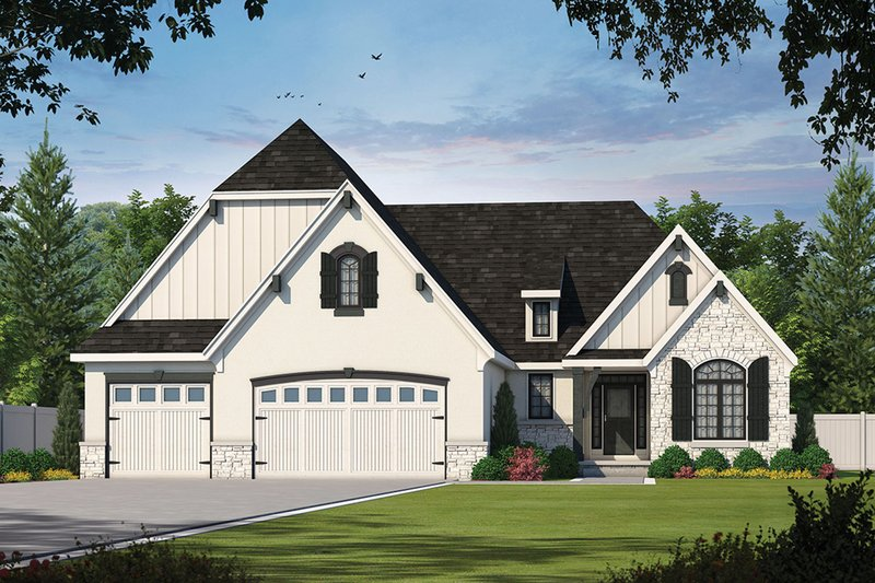 European Style House Plan - 2 Beds 2.5 Baths 2018 Sq/Ft Plan #20-2079 Exterior - Front Elevation
