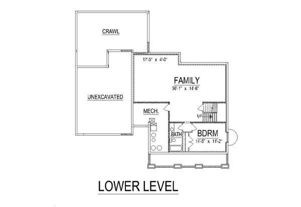 Craftsman Floor Plan - Lower Floor Plan #458-10
