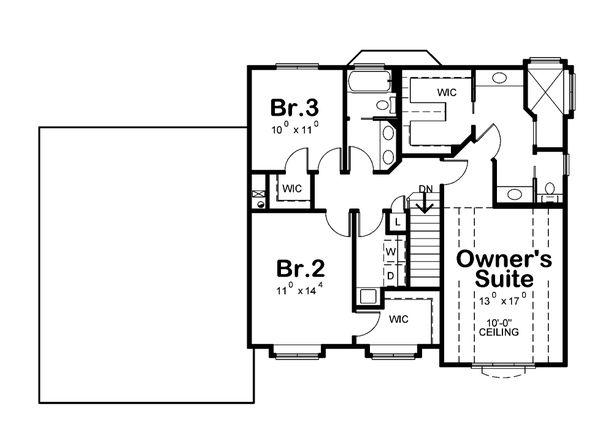 Craftsman Floor Plan - Upper Floor Plan #20-2416