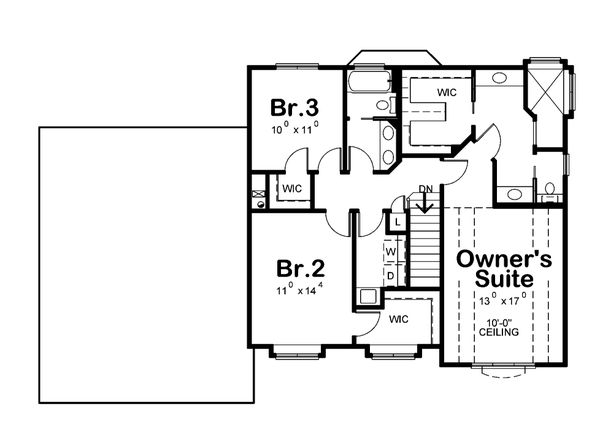 Architectural House Design - Craftsman Floor Plan - Upper Floor Plan #20-2416