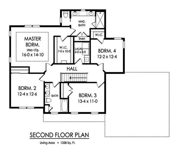 Traditional Floor Plan - Upper Floor Plan Plan #1010-247
