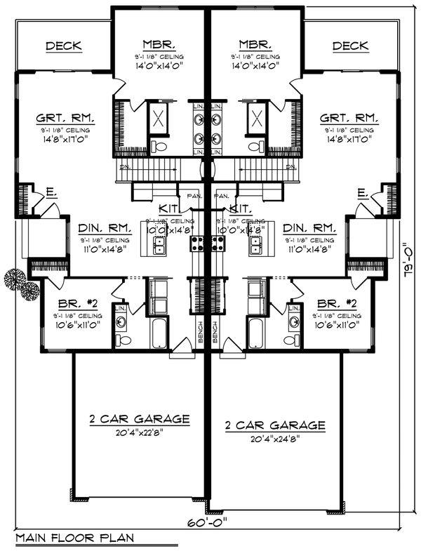 House Plan Design - Ranch Floor Plan - Main Floor Plan #70-1473