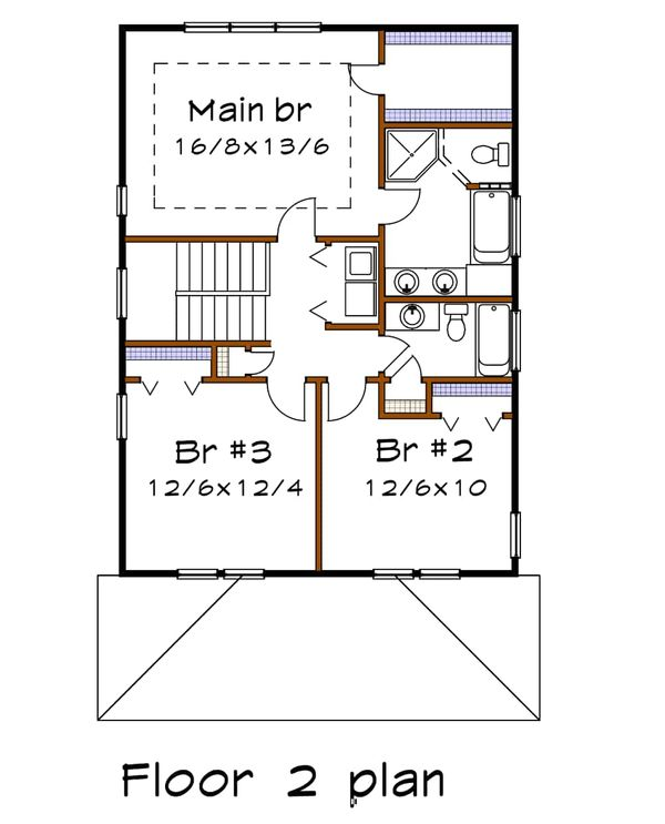 Craftsman Floor Plan - Upper Floor Plan Plan #79-266