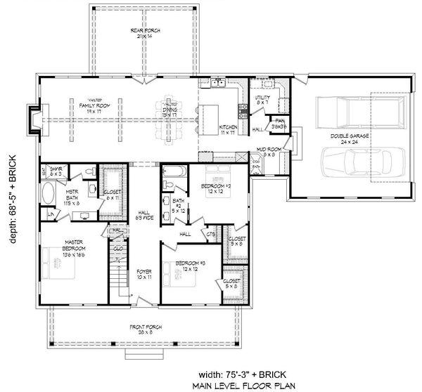 Country Floor Plan - Main Floor Plan #932-276