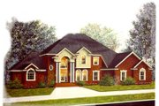 European Style House Plan - 4 Beds 3.5 Baths 3596 Sq/Ft Plan #15-223 Exterior - Front Elevation