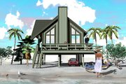 Beach Style House Plan - 2 Beds 1 Baths 841 Sq/Ft Plan #81-13765 Exterior - Rear Elevation