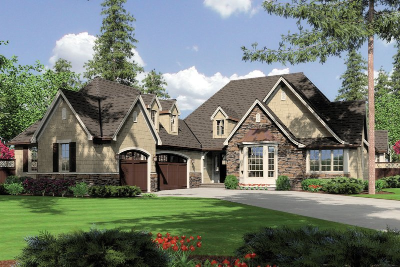 European Style House Plan - 3 Beds 3.5 Baths 2904 Sq/Ft Plan #48-239 Exterior - Front Elevation
